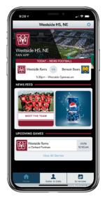 Branded Home Screen on ScoreVision Fan App