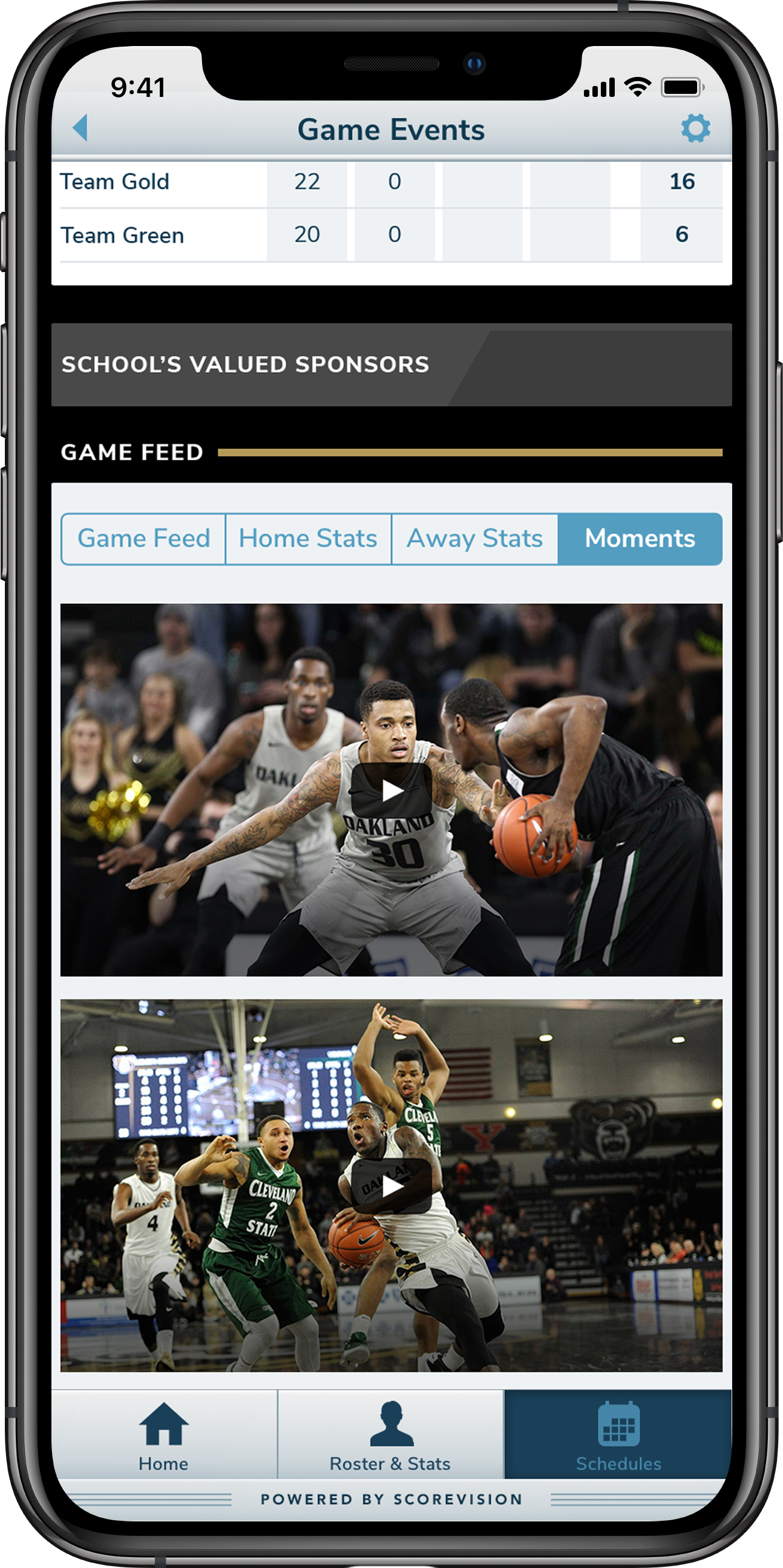 ScoreVision Fan App with Video Content
