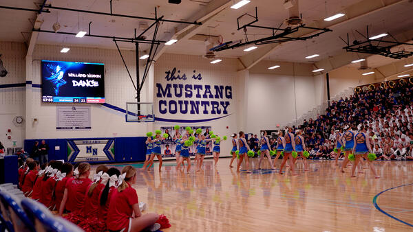 Dance Team Graphic on ScoreVision Video Scoreboard at Millard North High School