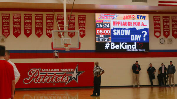 Millard-South-1410-Basketball-Video-Scoreboard-Halftime-with-Snow-Day-Ad