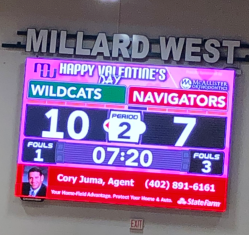 Valentine's Day Themed Brand Wrapper on the ScoreVision Video Scoreboard at Millard West High School