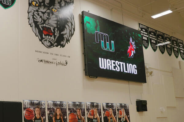 Matchup Graphic on ScoreVision Video Scoreboard at Millard West High School