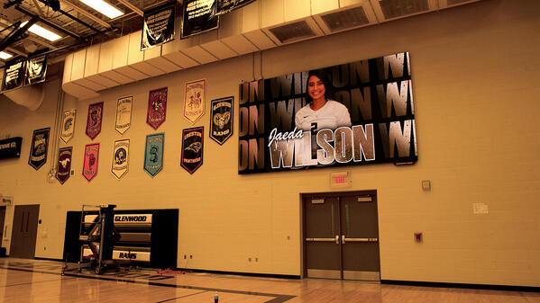 Player Card on ScoreVision Video Scoreboard at Glenwood High School