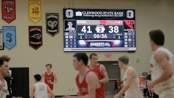 Sponsored Brand Wrapper on ScoreVision Video Scoreboard at Glenwood High School