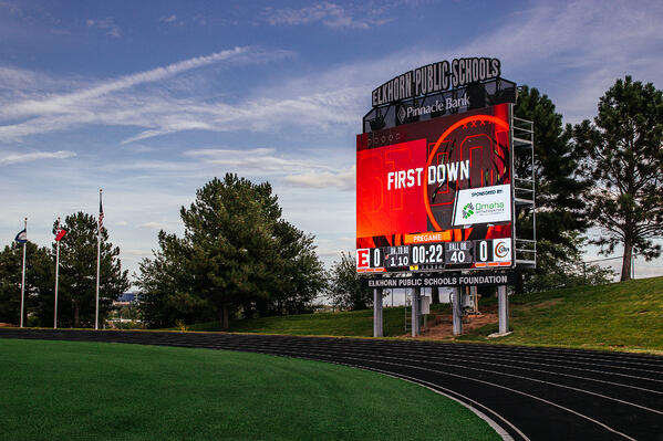 Sponsored Sport Animation on ScoreVision Video Scoreboard at Elkhorn High School