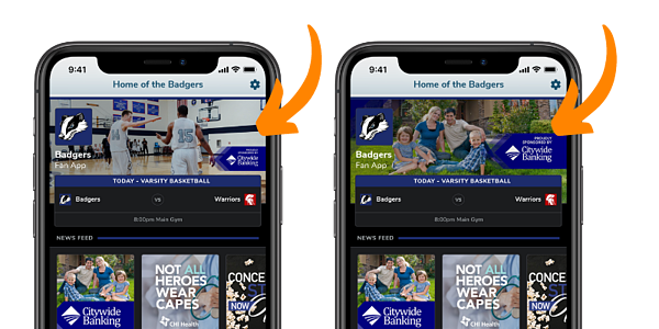 Fan App Header Images with Sponsor Branding