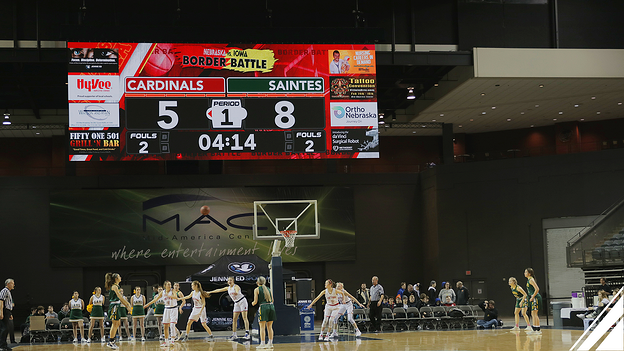 Basketball Video Scoreboard at Mid America Center Arena