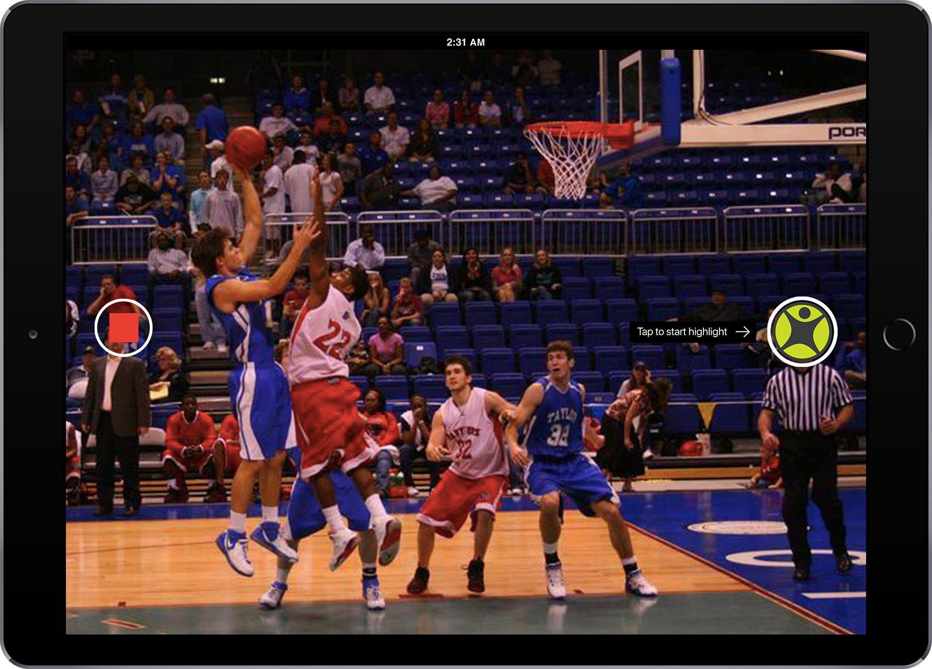 ScoreVision Capture App in Highlights Mode
