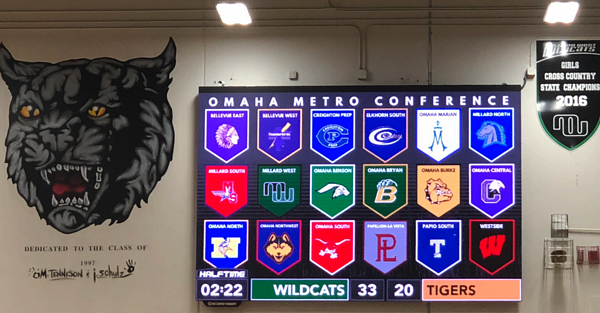 Conference Banner on ScoreVision Video Scoreboard at Millard West High School